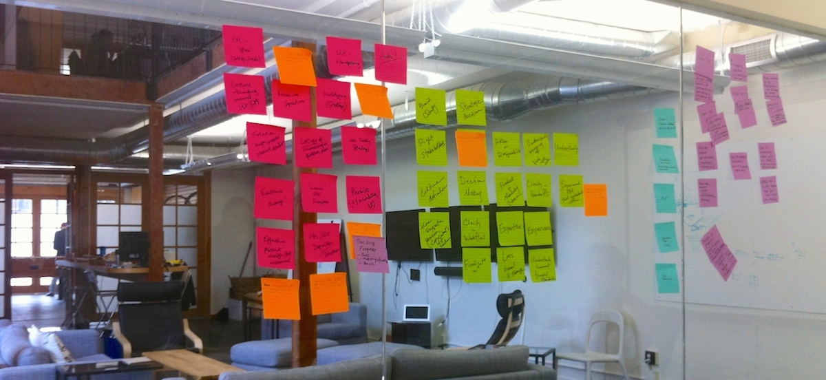Sticky notes on glass wall
