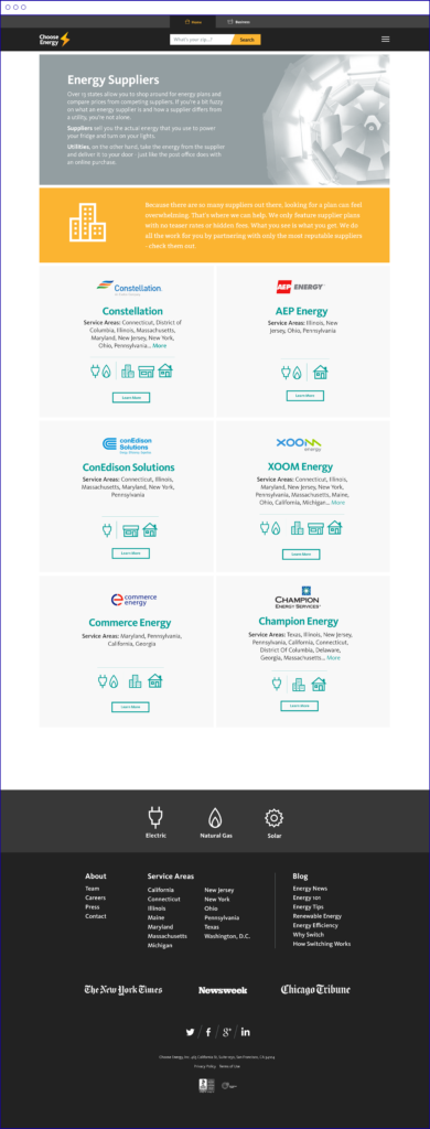 Screen shot of Choose Energy website